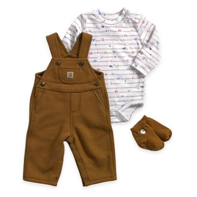 Carhartt® Size 3M 3-Piece Long-Sleeve Bodysuit, Overall, and Socks Set in Brown/White