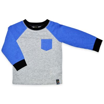Charlie Rocket™ Size 3T Long Sleeve Raglan Tee with Chevron Pocket in Blue/Grey Heather