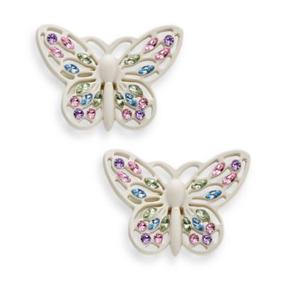 Cambria® My Room Butterfly Finial Satin White (Set of 2)