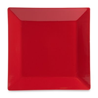 Square Dinner Plate in Red