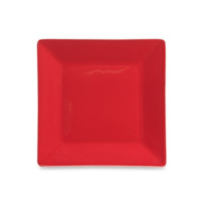 Square Salad Plate in Red