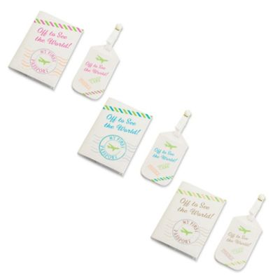 "Lillian Rose™ ""Off to See the World!"" Luggage Tag and Passport Cover Set in Blue"