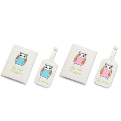 Lillian Rose™ Owl Luggage Tag and Passport Cover Set in Pink