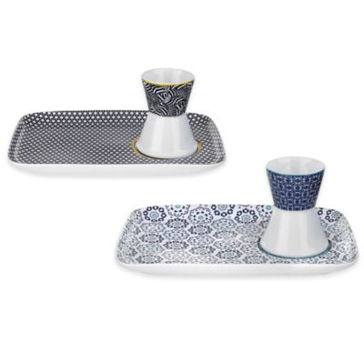Ted Baker Portmeirion® Casual Collection Egg Cup and Snack Plate in Black