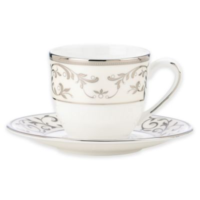 Opal Innocence™ Cup and Saucer Set in White/Silver (Set of 2)