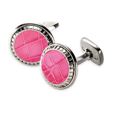 M-Clip® Stainless Steel Alligator Inlay Carved Round Cufflinks in Pink