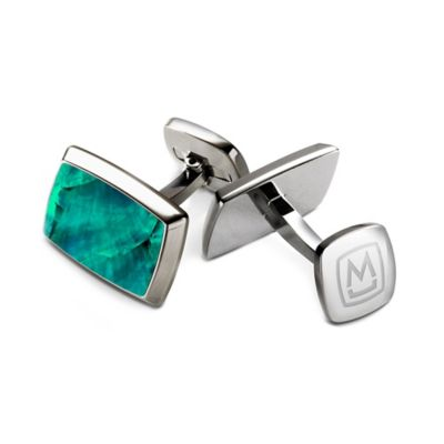 M-Clip® Stainless Steel and Grey/Blue Mother of Pearl Tapered Rectangle Cufflinks