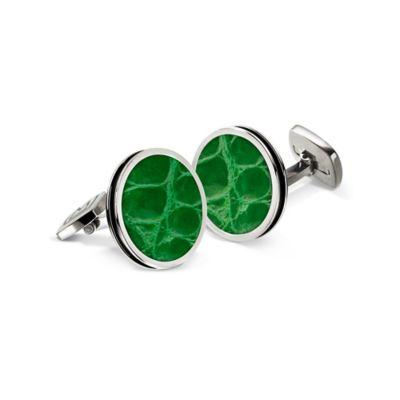 M-Clip® Stainless Steel and Dark Green Alligator Bordered Round Cufflinks