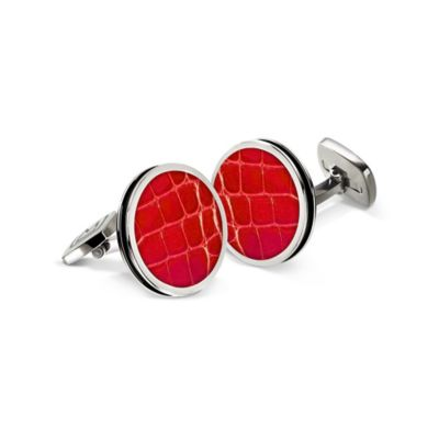 M-Clip® Stainless Steel and Yellow Alligator Bordered Round Cufflinks