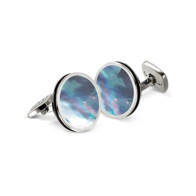 M-Clip® Stainless Steel Green Abalone Round Cufflinks