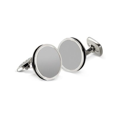 M-Clip® Stainless Steel and Black Enamel Bordered Round Cufflinks