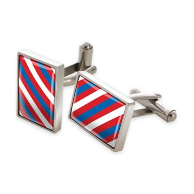 M-Clip® Stainless Steel Red, White, and Blue Diagonal Stripe Rectangular Cufflinks