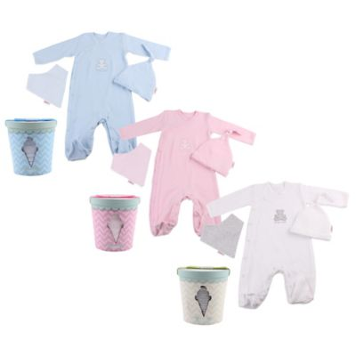 Ice cream Tub Newborn 4-Piece Gift Box in White with Grey Bib