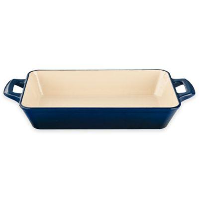 La Cuisine 17.7-Inch x 8.2-Inch x 3-Inch Cast Iron Enamel-Coated Deep Roaster in Blue