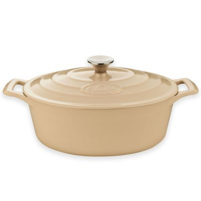La Cuisine 4.75 qt. Oval Cast Iron Casserole in Cream