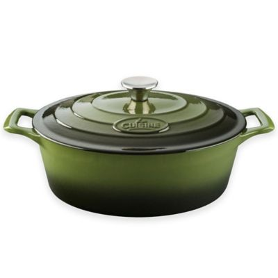La Cuisine 4.75 qt. Oval Cast Iron Casserole in Green