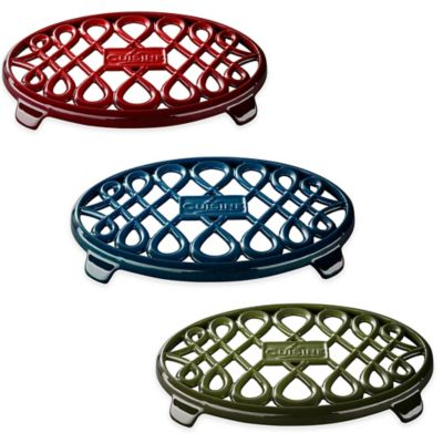 La Cuisine 10-Inch x 7-Inch Oval Cast Iron Trivet in Green