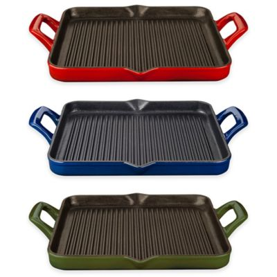 La Cuisine 1 qt. Rectangular Cast Iron Grill Pan in Red