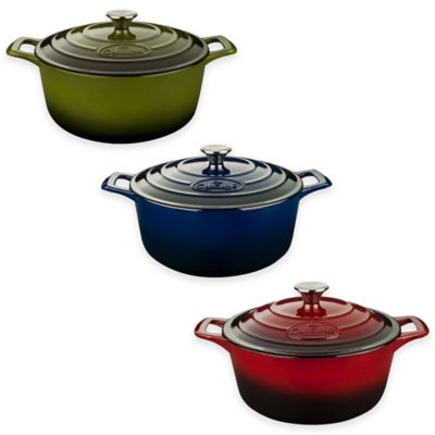 La Cuisine 3.75 qt. Round Cast Iron Casserole in Green
