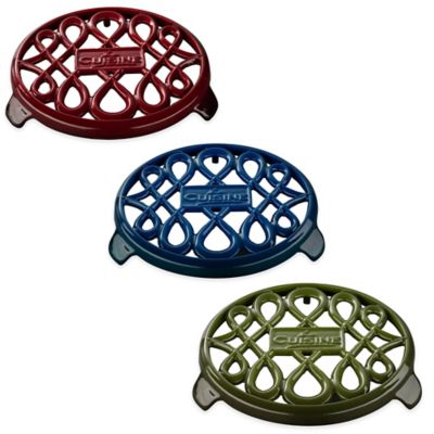 Cast Iron Round Trivet in Red