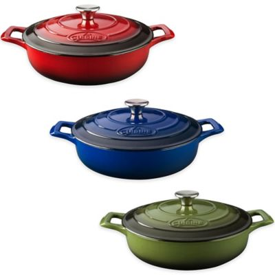 La Cuisine Sauté 3.75 qt. Cast Iron Casserole in Green