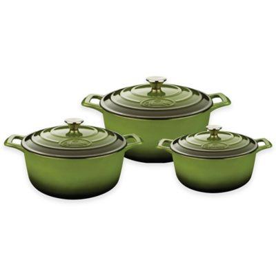 La Cuisine PRO 6-Piece Round Cast Iron Casserole Set in Green