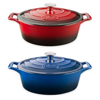 La Cuisine PRO 6.75 qt. Oval Cast Iron Casserole in Red