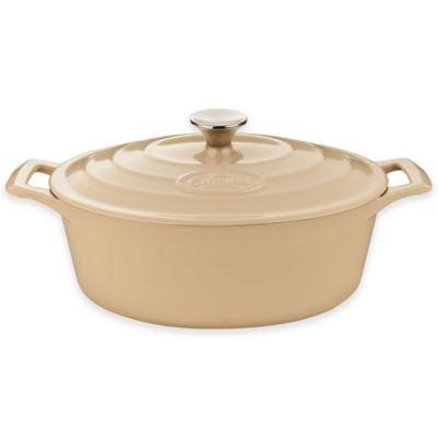 La Cuisine PRO 4.75 qt. Oval Cast Iron Casserole in Cream