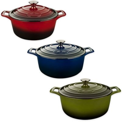 La Cuisine PRO 6.5 qt. Round Cast Iron Casserole in Red