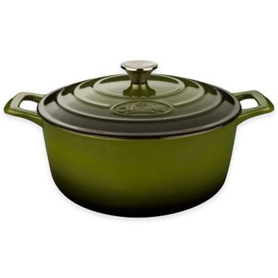 La Cuisine PRO 2.25 qt. Round Cast Iron Casserole in Green