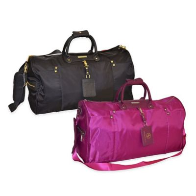 Adrienne Vittadini 22-Inch High Density Nylon Weekend Duffle in Raspberry