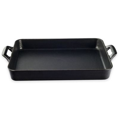 La Cuisine 15.7-Inch Shallow Cast Iron Roasting Pan in Black
