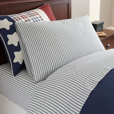 Frank and Lulu Star Spangled Twill Twin Sheet Set in Navy