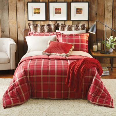 Cozy Soft® Plaid 4-Piece Twin/Twin XL Comforter Set in Red