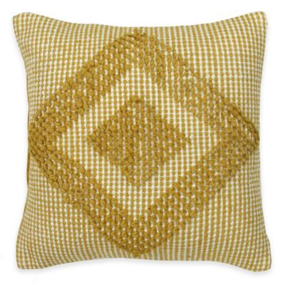 KAS ROOM South Hampton Jelani Square Throw Pillow in Yellow/White