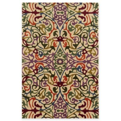Rizzy Home Bradberry Downs Multi Damask 3-Foot x 5-Foot Area Rug in Ivory/Green