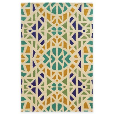 Rizzy Home Bradberry Downs Mosaic Tile 3-Foot x 5-Foot Area Rug in Ivory/Blue