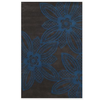 Rizzy Home Bradberry Downs Lace Floral 5-Foot x 8-Foot Area Rug in Mykonos Blue