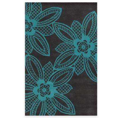 Rizzy Home Bradberry Downs Lace Floral 2-Foot x 3-Foot Accent Rug in Turquoise