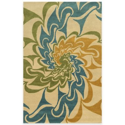 Rizzy Home Bradberry Downs Swirl 3-Foot x 5-Foot Area Rug in Ivory/Gold