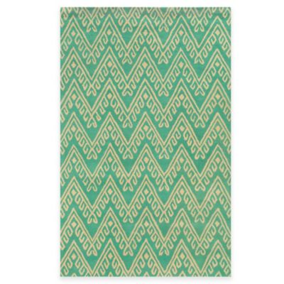 Rizzy Home Bradberry Downs Chevron 5-Foot x 8-Foot Area Rug in Teal