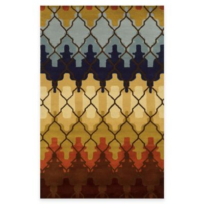 Rizzy Home Bradberry Downs Trellis 5-Foot x 8-Foot Area Rug in Gold