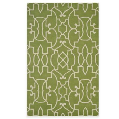 Rizzy Home Bradberry Downs Fretwork 2-Foot x 3-Foot Accent Rug in Lime/White