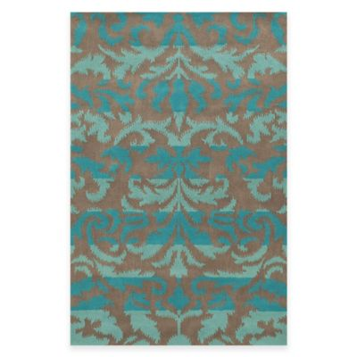 Rizzy Home Bradberry Downs Ikat Damask 3-Foot x 5-Foot Area Rug in Teal
