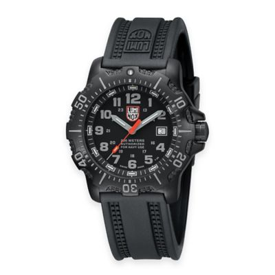 Luminox® ANU Men's Navy SEAL 45mm Black Dial Watch with Black Rubber Strap