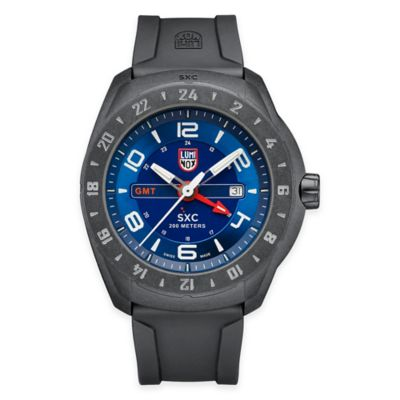 Luminox® Men's 45mm Blue Dial Watch in Stainless Steel with Black Rubber Strap