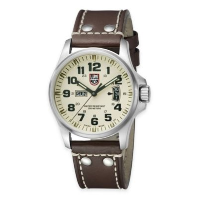Luminox® Men's 42mm Cream Dial Watch in Stainless Steel with Brown Leather Strap