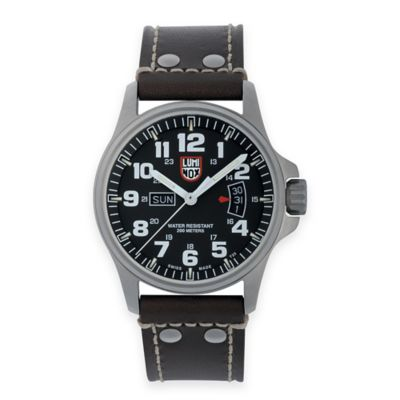 Luminox® Men's 42mm Black Dial Watch in Stainless Steel with Black Leather Strap