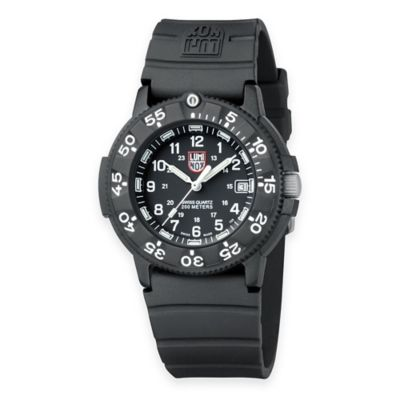 Luminox® Men's Original Navy SEAL 43mm Black Dial Dive Watch with Black Rubber Strap