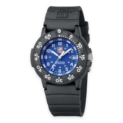 Luminox® Men's Original Navy SEAL 43mm Blue Dial Dive Watch with Black Rubber Strap